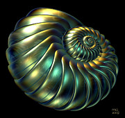 Recursive Digital Art - Metallic Nautiloid by Manny Lorenzo