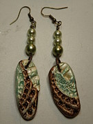 Lizard Jewelry - Metallic Shell Stamped Earrings 3 by Megan Brandl