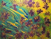 Metallic Waterlilies Print by Sharon  De Vore