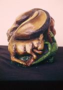 Surrealism Ceramics Posters - Metamorphosis Squirel side Poster by Jamey Balester