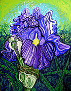 Flowers Greeting Cards Posters - Metaphysical Iris Poster by Genevieve Esson