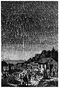 1833 Prints - Meteor Shower, 1833 Print by Granger