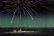 Falling Star Posters - Meteor Shower, Historical Artwork Poster by Detlev Van Ravenswaay