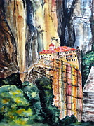 Greece Painting Originals - Meteora Greece by Maria Barry