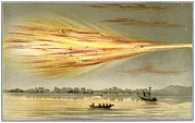 Water Vessels Metal Prints - Meteorite Explosion, Historical Artwork Metal Print by Detlev Van Ravenswaay