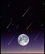 Meteor Art - Meteors And Full Moon by David Nunuk