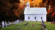 Headstones Posters - Methodist Church-Cades Cove Poster by Thomas Schoeller