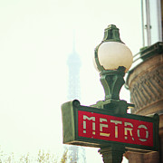 Street Light Posters - Metro Sing Paris Poster by Gabriela D Costa