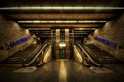 Escalator Framed Prints - Metro Underground - Passeig de Gracia Framed Print by Yhun Suarez