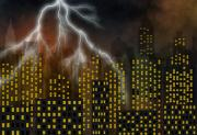Ghostly Prints - Metropolis At A Stormy Night Print by Michal Boubin
