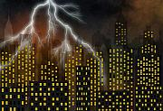 Lightning Digital Art Originals - Metropolis at stormy night by Michal Boubin