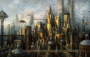 Science Fiction Illustration Framed Prints - Metropolis Framed Print by Philip Straub