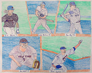 Mets Mixed Media Posters - Mets Fabulous5 Poster by Nat Solomon