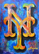 Shea Stadium Mixed Media Prints - METS Portrait Print by Dan Haraga