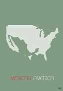 Usa Map Digital Art - Mexican America Poster by Irina  March