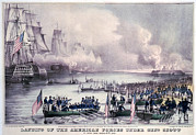 Ships And Boats Framed Prints - Mexican-american War. Landing Framed Print by Everett