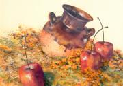 Signed Pastels Originals - Mexican Apples 2 by DEVARAJ DanielFranco