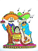 Celebration Pastels Posters - Mexican birthday Poster by Amrita Dutta