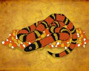 Corn Digital Art Posters - Mexican Candy Corn Snake Poster by Laura Brightwood