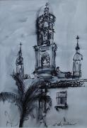 Church Drawings Originals - Mexican Church by E Colin Williams ARCA