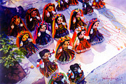 Guadalajara Mexico Paintings - Mexican Dolls by Estela Robles