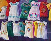Bright Pastels Posters - Mexican Dresses Poster by Candy Mayer