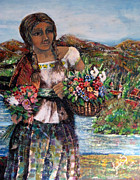 Mexican Folklore Paintings - Mexican Flower Girl by Claudia Pureco