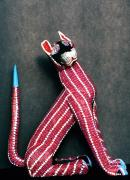 Folkart Photos - Mexican folk art cat by Nancy Hoyt Belcher