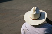 Types Of Headgear Posters - Mexican Man Wearing A Cowboy Hat Poster by Gina Martin