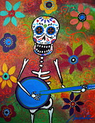 Guitar Player Painting Originals - Mexican Playing Banjo by Pristine Cartera Turkus
