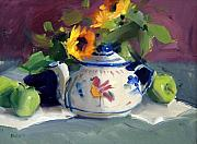 Flower Still Life Painting Posters - Mexican Pottery Poster by Judy Crowe