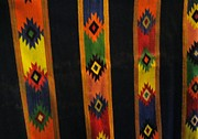 Lines Tapestries - Textiles Prints - Mexican Throw Rug Colorful Print by Unique Consignment