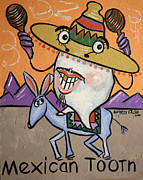 Tooth Mixed Media Prints - Mexican Tooth Print by Anthony Falbo
