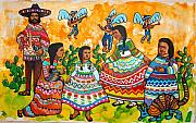 Auction Digital Art Prints - Mexican Women Print by Charles Harrison Pompa