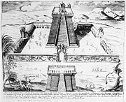 Colonial Man Photos - Mexico: Aztec Temple, 1765 by Granger