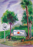 Florida Panhandle Painting Posters - Mexico Beach sign on 98 Poster by Chuck Creasy