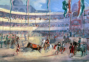 1833 Framed Prints - Mexico: Bullfight, 1833 Framed Print by Granger