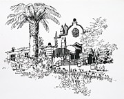 Race Drawings Originals - Mexico City Horse Race Track Entrance by Robert Birkenes