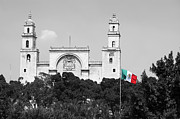 Black And White Framed Prints - Mexico Flag on Merida Cathedral San Ildefonso Town Square Color Splash Black and White Framed Print by Shawn OBrien