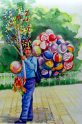 Mexico People Paintings - Mexico Globero II by Estela Robles