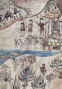Canoe Drawings Metal Prints - MEXICO INDIANS c1500 Metal Print by Granger