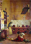 Oven Framed Prints - MEXICO: KITCHEN, c1850 Framed Print by Granger