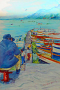 Mexican Folklore Paintings - Mexico Lake Chapala by Estela Robles