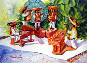Mexico People Paintings - Mexico Mariachis by Estela Robles