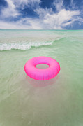 Mujeres Prints - Mexico, Quintana Roo, Yucatan Peninsula, Isla Mujeres, Pink Inner Tube Floating On Sea Print by Bryan Mullennix