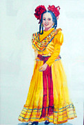 Mexican Folklore Paintings - Mexico Srta In Yellow by Estela Robles