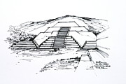 Pyramid Drawings - Mexico Teotihuacan Moon Pyramid by Robert Birkenes