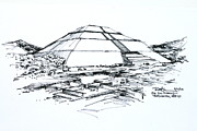 Pyramid Drawings - Mexico Teotihuacan Sun Pyramid by Robert Birkenes