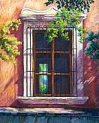 Landscapes Pastels Prints - Mexico Window Print by Candy Mayer