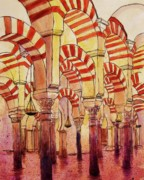 Columns Drawings Metal Prints - Mezquita  Cordoba Metal Print by Candy Mayer